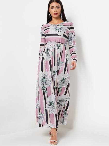 Yoins Round Neck Long Sleeve Random Floral Print Maxi Dress in Pink
