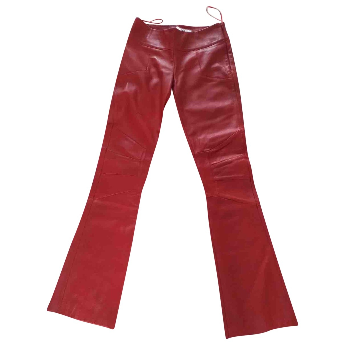 Non Signé / Unsigned \N Red Leather Trousers for Women 0 0-5