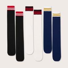 3 pares calcetines de rodilla de niñitos con patron de rayas