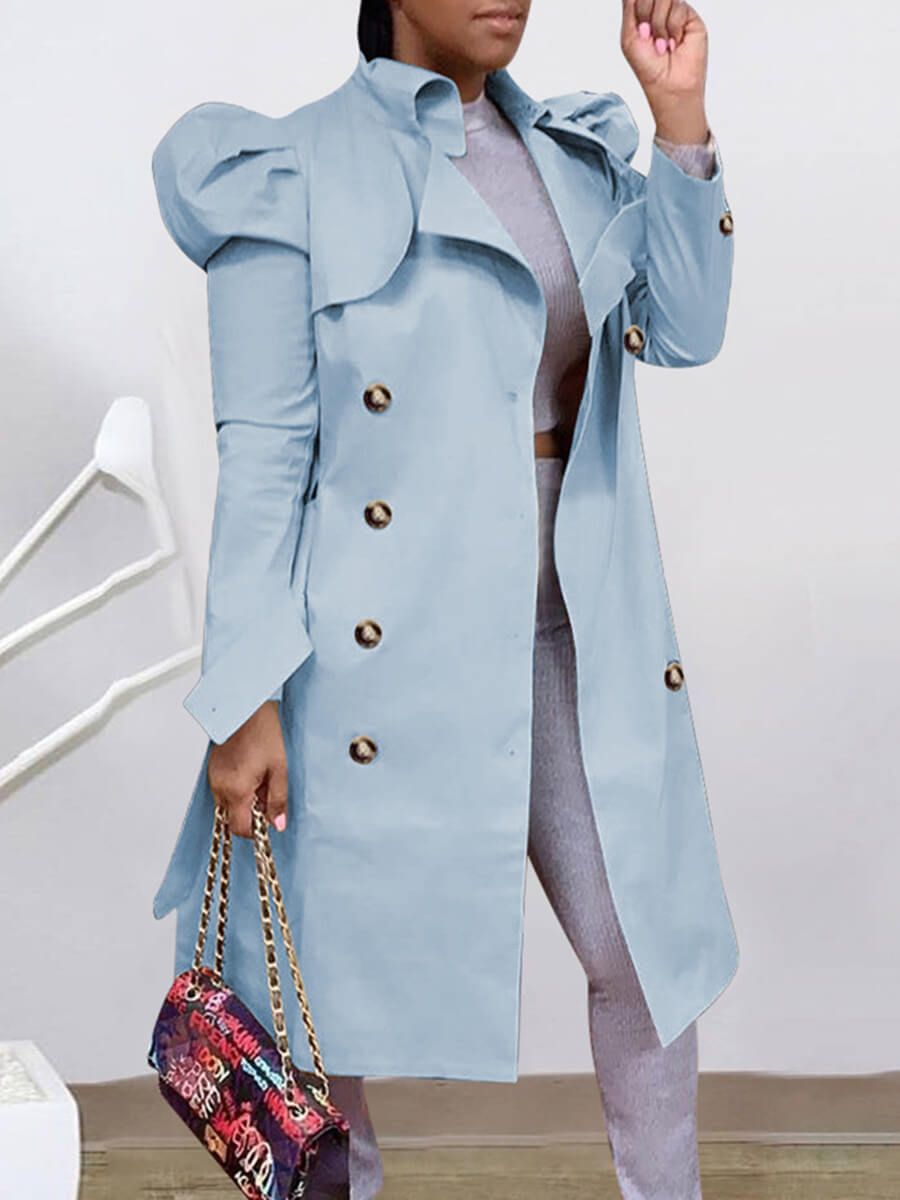 LW Lovely Trendy Button Design Skyblue Trench Coat