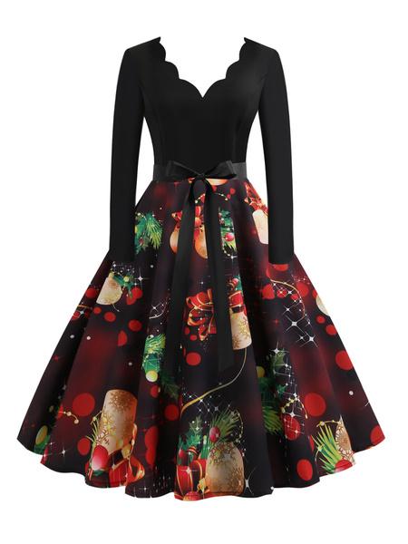 Milanoo Christmas Vintage Dress 1950s V-Neck Lace Up Layered Long Sleeves Medium Pattern Rockabilly Dress