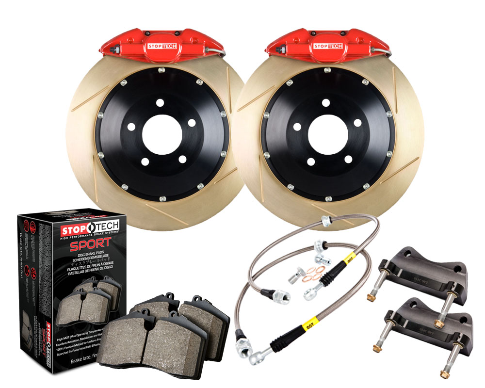 StopTech 83.836.0023.73 Big Brake Kit; Black Caliper; Slotted Two-Piece Rotor; Front Rear