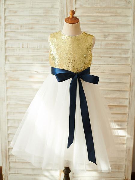 Milanoo Vestidos de niña de flores Joya de oro claro Cuello sin mangas Sash Vestidos de fiesta para niños