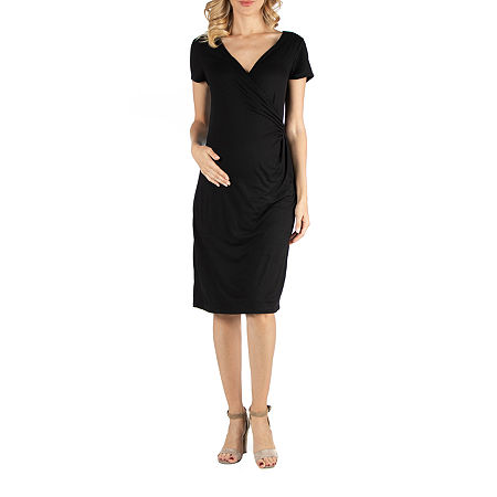 24/7 Comfort Apparel Faux Wrapover Dress with Cap Sleeves, 3x , Black