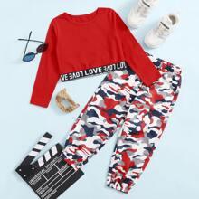 T-Shirt mit Buchstaben Muster und Hose Set mit Camo Muster