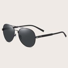 Gafas de sol polarizadas de aviador de hombres con barra superior