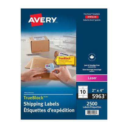 Avery@ Shipping Permanent Adhesive Laser Labels - Box of 250 sheets,4 x 2