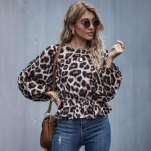 Blusas Volante rigido Leopardo Casual