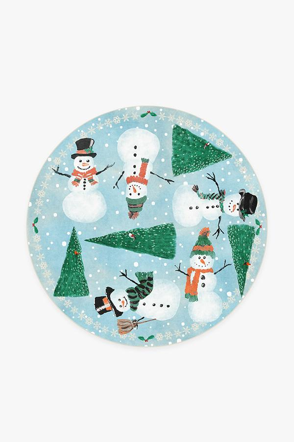 Washable Rug Cover | Snowy Soiree Frost Rug | Stain-Resistant | Ruggable | 6' Round