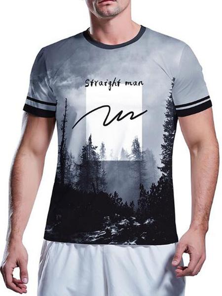Milanoo Men\'s Quick Dry T-shirts Crew Neck Short Sleeves Top For Summer
