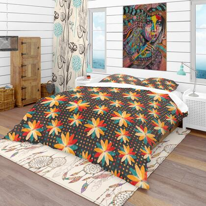 BED18779-Q Designart 'Multicolor Boho Flowers' Bohemian Duvet Cover