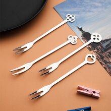4 piezas tenedor de fruta de acero inoxidable