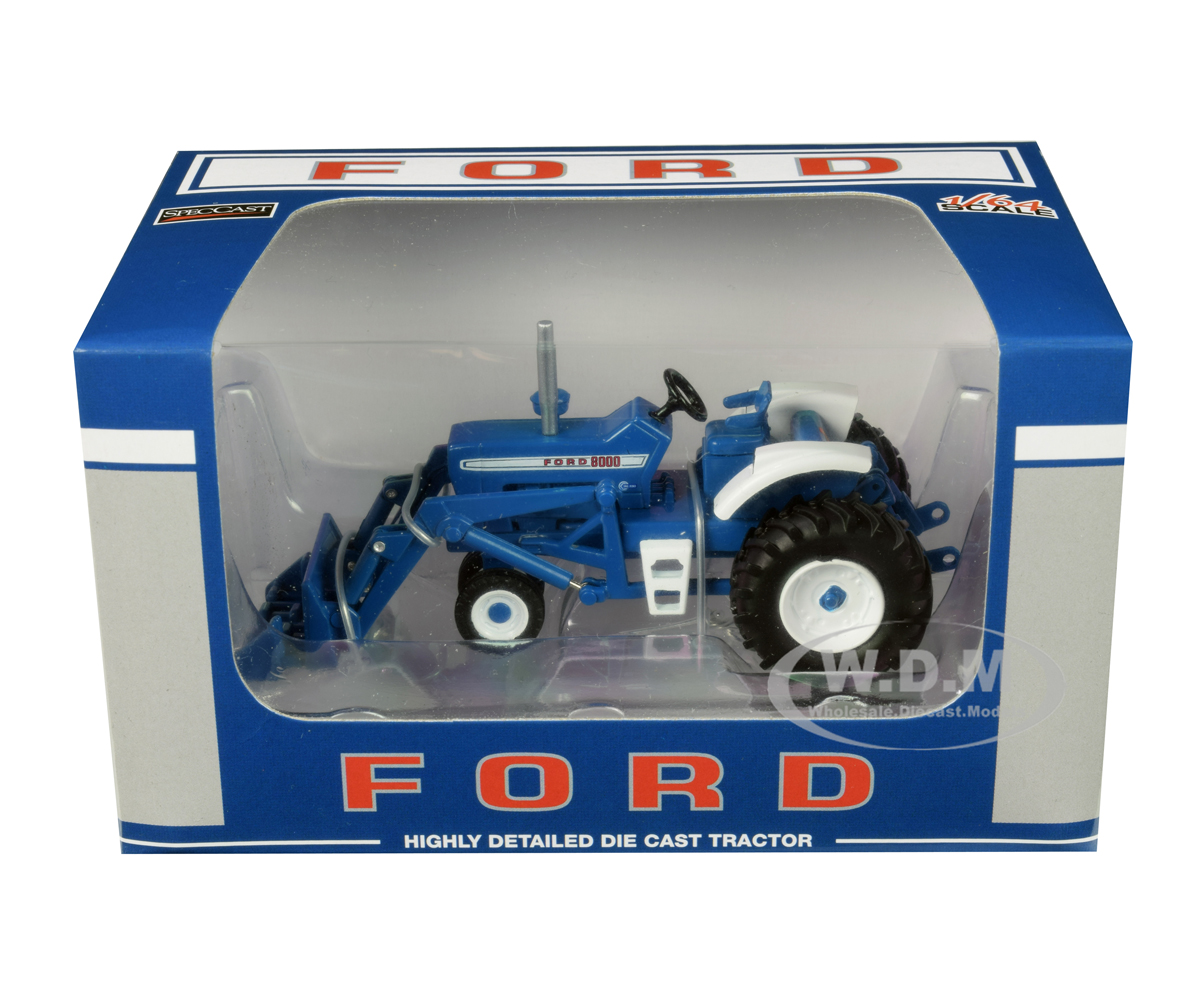 Ford 8000 Narrow Front with Loader Blue 1/64 Diecast Model by SpecCast