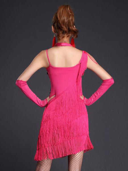 Milanoo Disfraz Halloween Rosa roja Latin Dance correas flecos lentejuelas leche seda vestido  Halloween