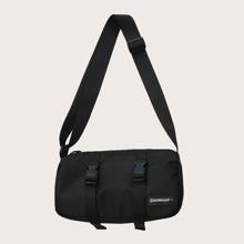 Men Release Buckle Decor Crossbody Bag