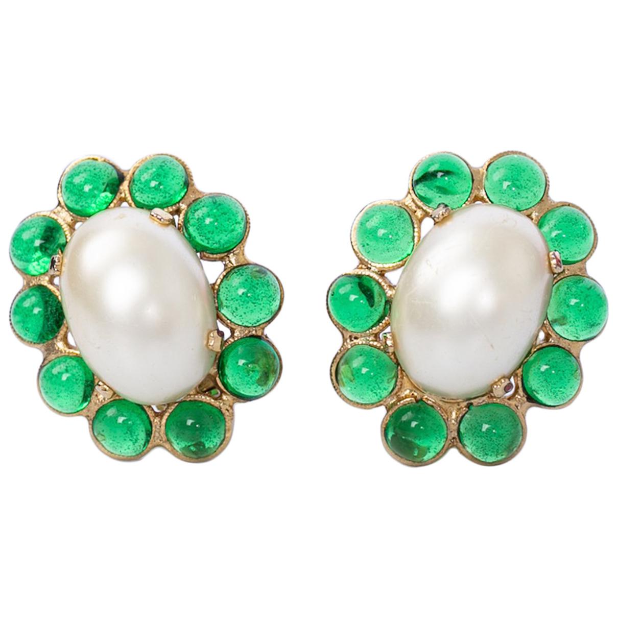 Chanel - Boucles doreilles Baroque pour femme en verre - vert
