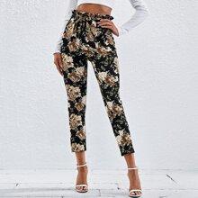 Hose mit Papiertaschen auf Taille und Blumen Muster