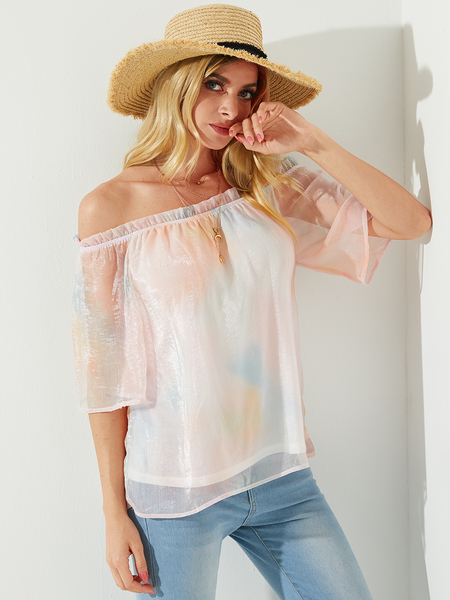 YOINS White Tie Dye Off The Shoulder Short Sleeves Blouse