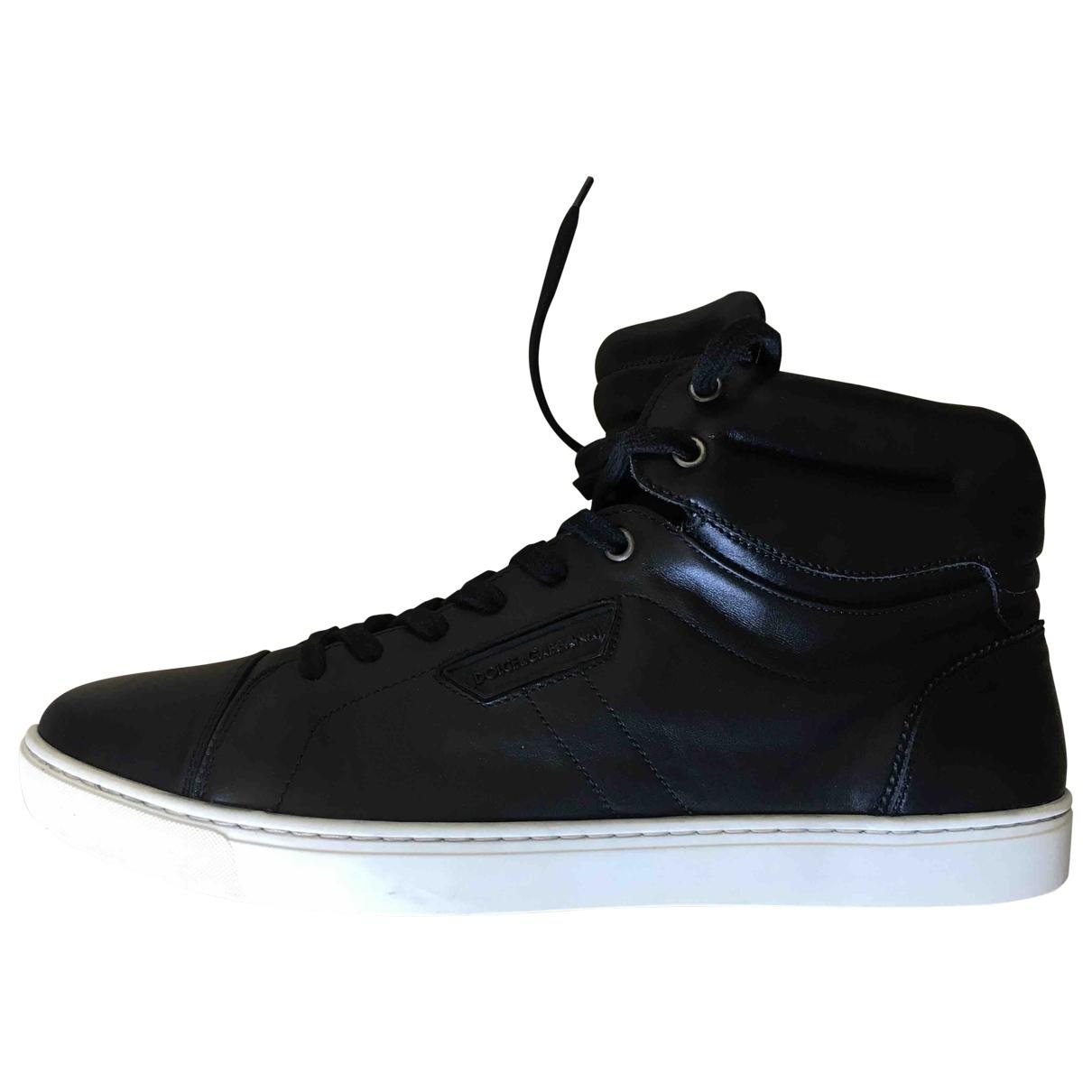 Dolce & Gabbana \N Black Leather Trainers for Men 44 EU