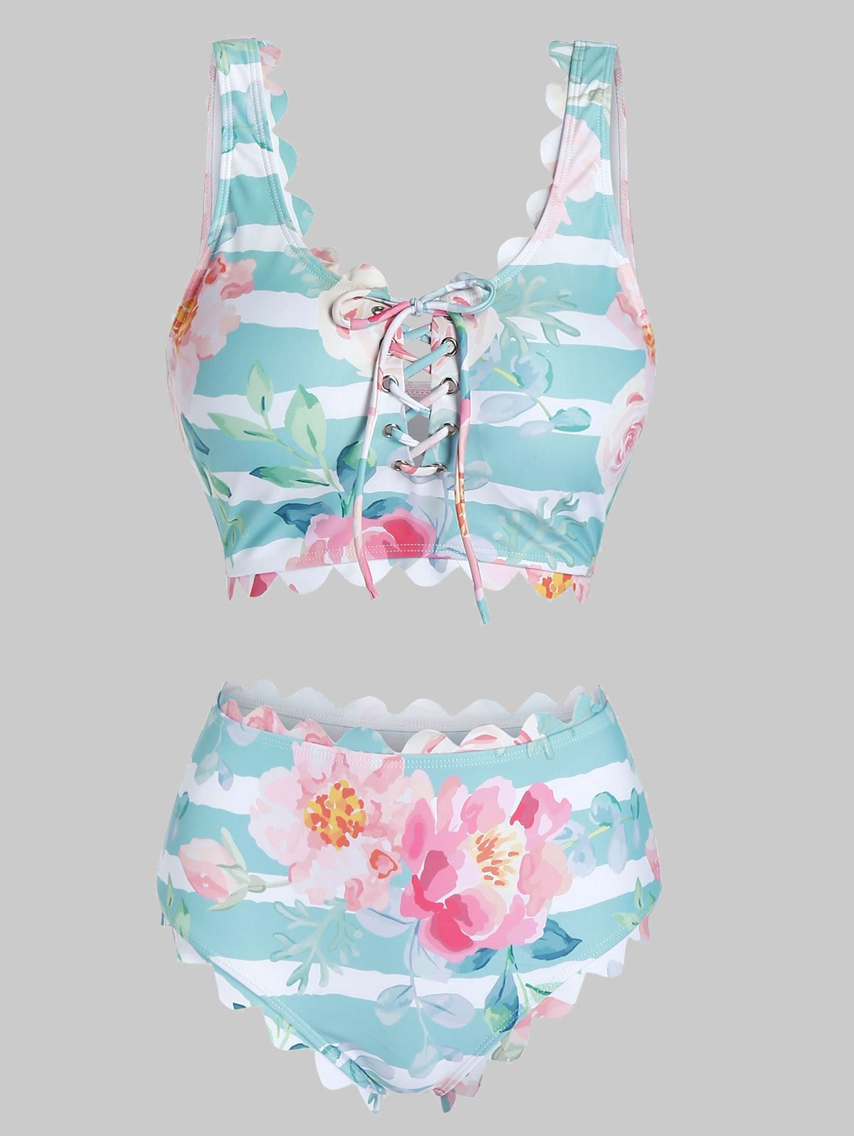 Stripes Floral Scalloped Lace Up Tankini Swimwear