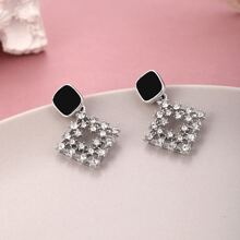 Rhinestone Decor Square Drop Earrings