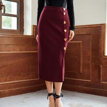 Button Front Split Hem Skirt