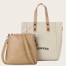 2 piezas bolsa de lona con letra con bolsa bandolera