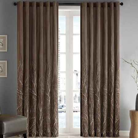 Madison Park Eliza Embroidery Faux Silk Light-Filtering Back-Tab Single Curtain Panel, One Size , Brown