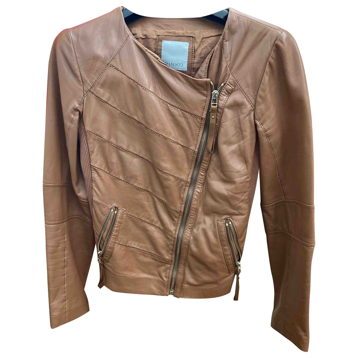 Pinko \N Camel Leather Leather jacket for Women 40 IT