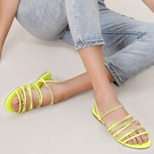 Open Toe Rhinestone Strappy Jelly Slide Sandals
