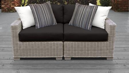 Coast Collection COAST-02a-BLACK 2-Piece Patio Wicker Loveseat with Left Arm Chair and Right Arm Chair - Beige and Black
