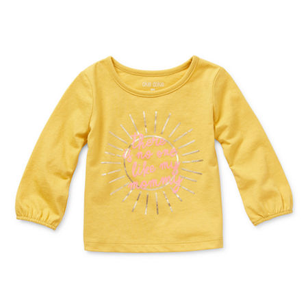 Okie Dokie Baby Girls Round Neck Long Sleeve Graphic T-Shirt, 18 Months , Yellow