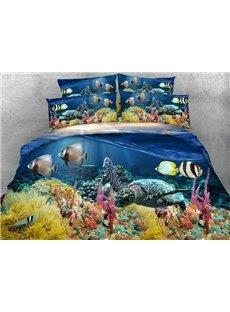 Sea Turtle Printed Cotton 4-Piece 3D Bedding Sets/Duvet Covers