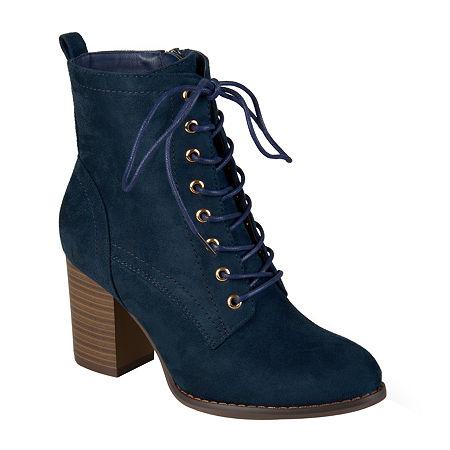 Journee Collection Womens Baylor Booties Stacked Heel, 8 Medium, Blue