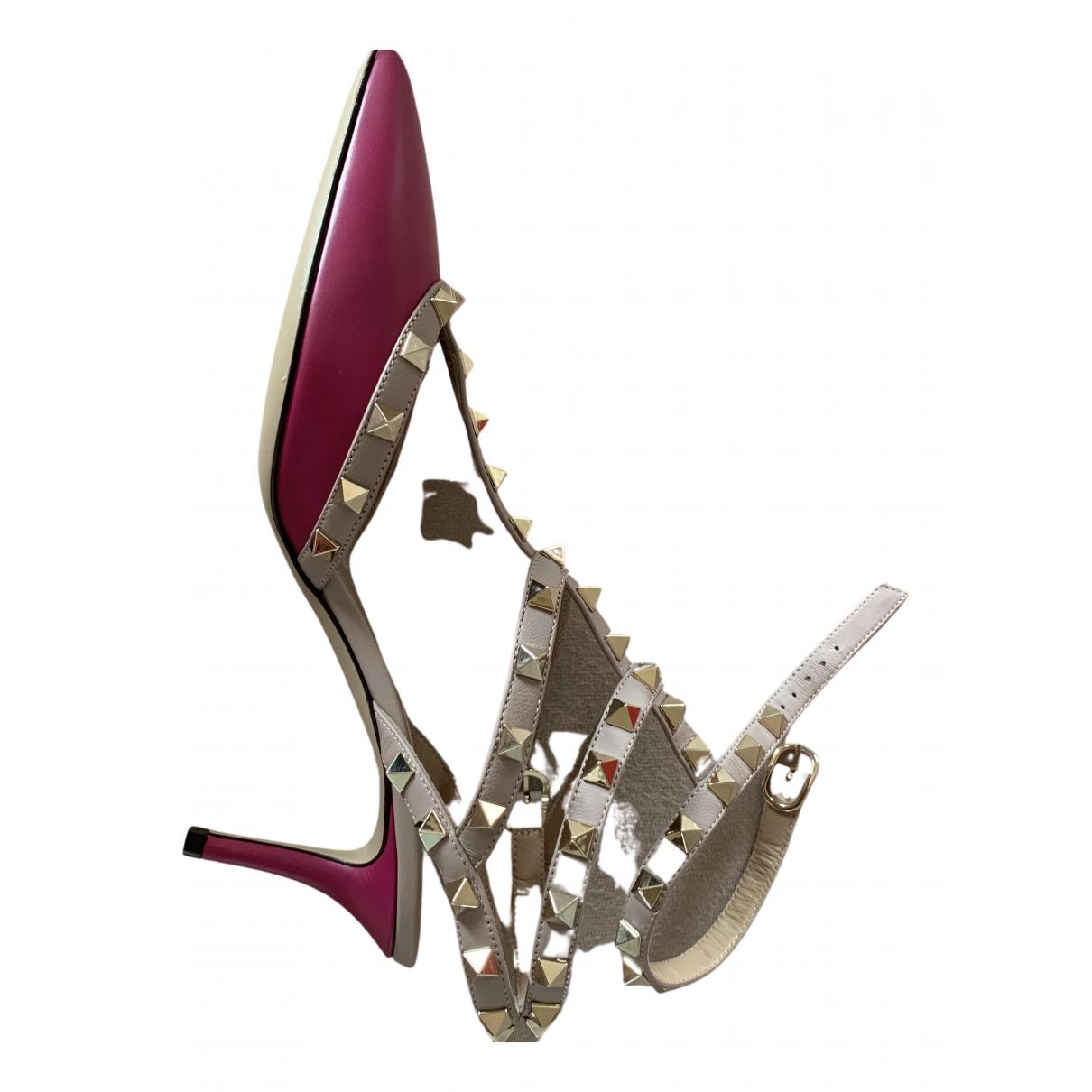 Valentino Garavani Rockstud Pink Leather Heels for Women 38.5 EU