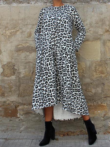 Yoins ZANZEA Pocket Design Leopard Round Neck Dress