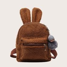 Maedchen flauschiger Rucksack mit Ohr Dekor