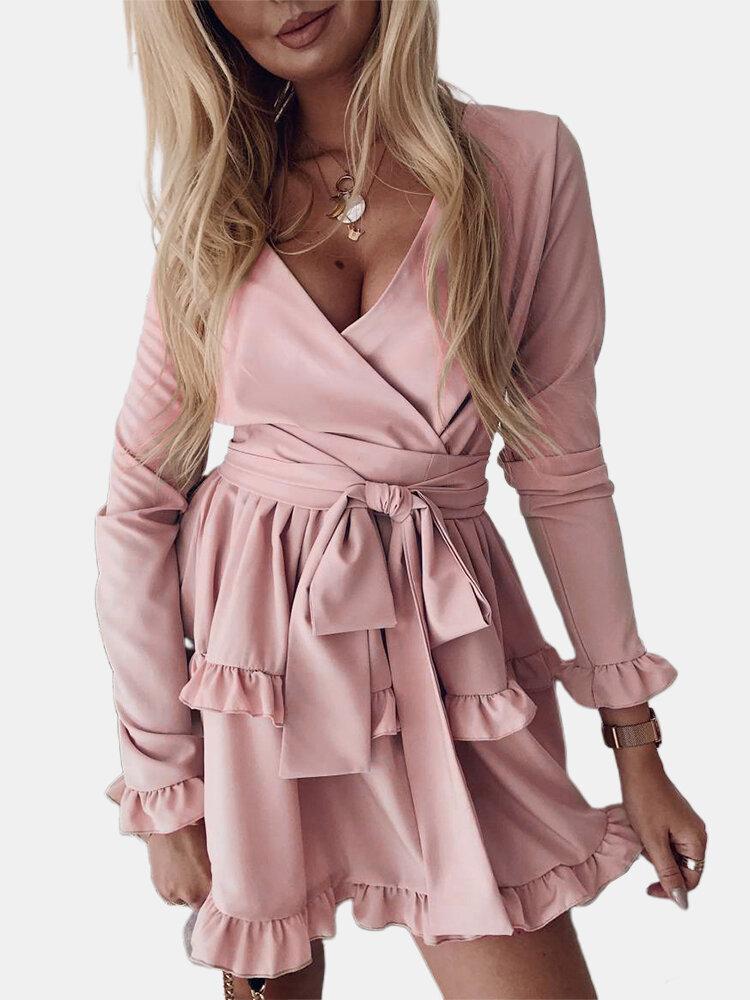 Solid Color Ruffled Hem Long Sleeve V-neck Mini Dress