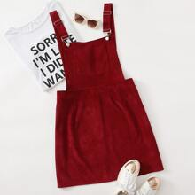 Plus Corduroy Pocket Front Overall Dress