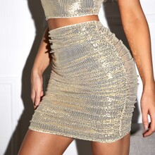 Sequin Ruched Skirt