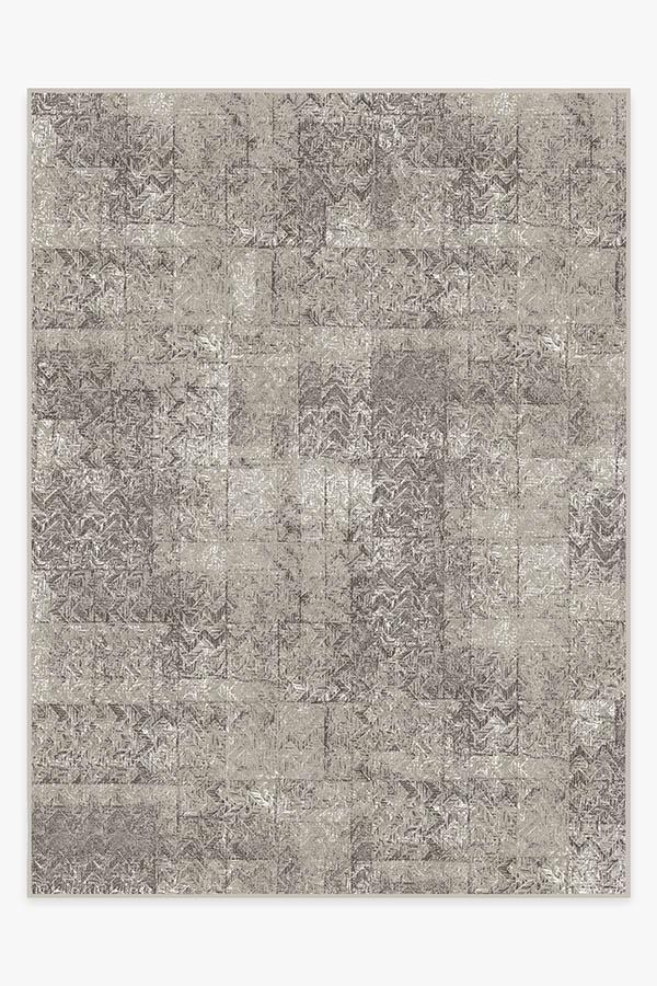 Washable Rug Cover | Herringbone Batik Ash Grey Rug | Stain-Resistant | Ruggable | 9x12