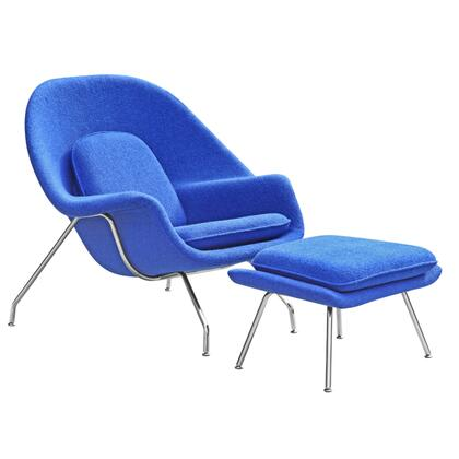 Woom Collection FMI1134-BLUE Chair and Ottoman Set with Molded Fibre Glass Frame  Stainless Steel Base  Fire Retardant Polyurethane Foam Padding and