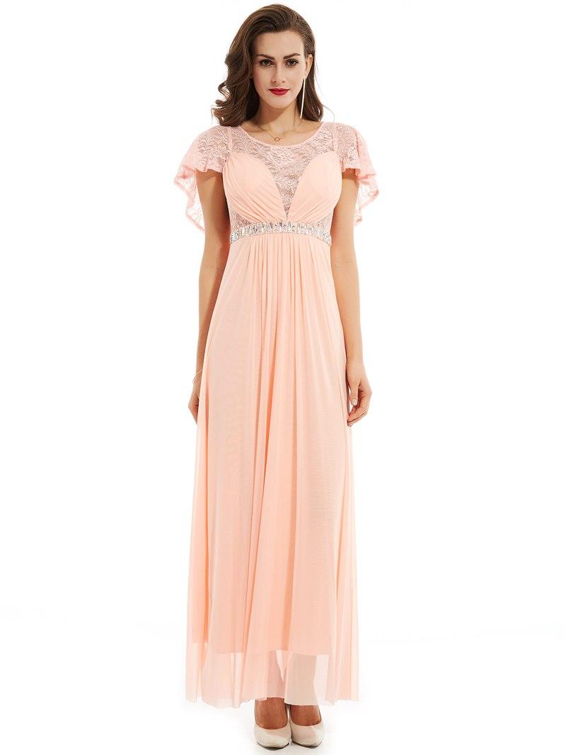 Ericdress A Line Short Sleeve Beaded Lace Evening Dress