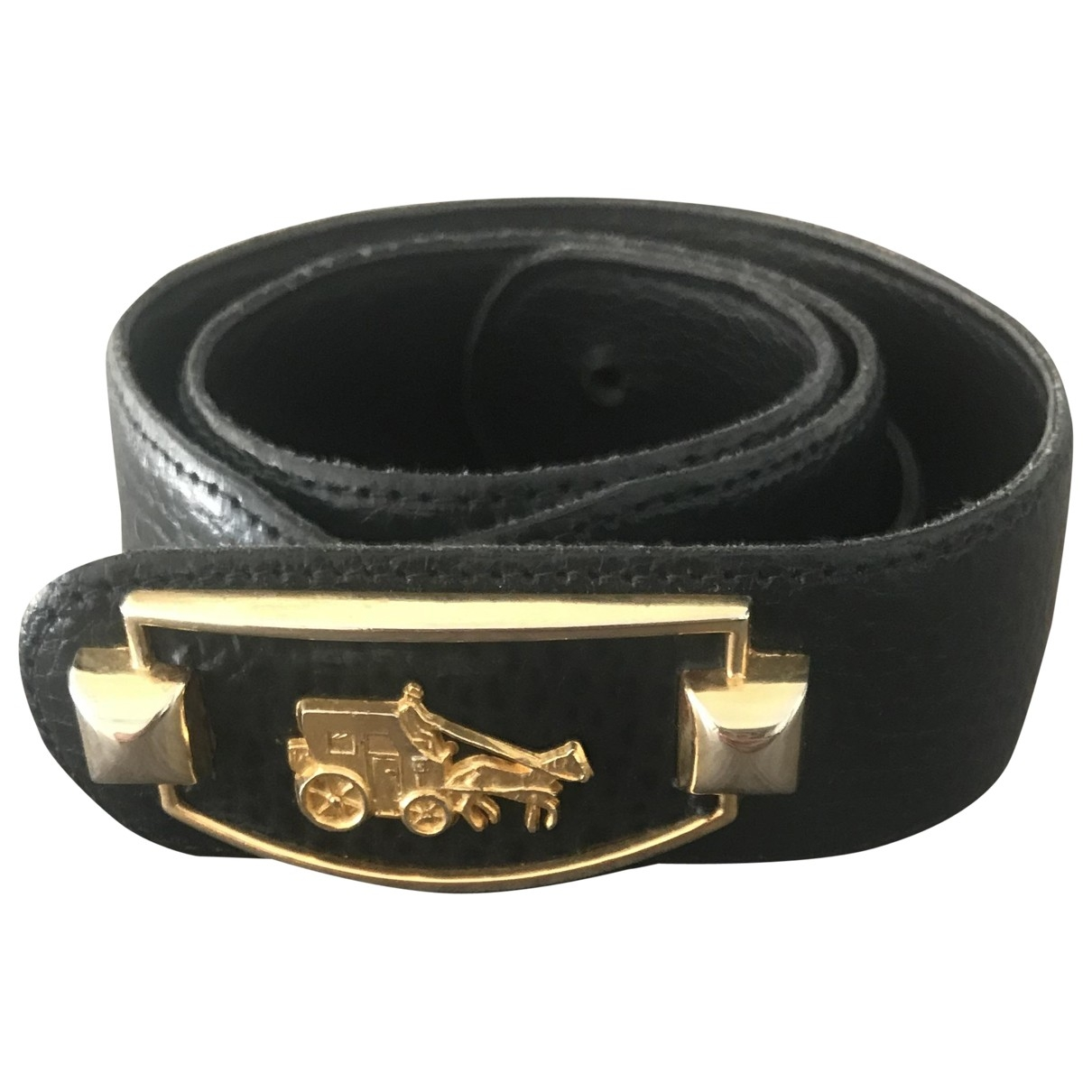 Non Signé / Unsigned \N Navy Leather belt for Women 75 cm