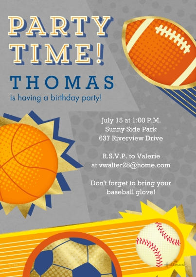 Kids Birthday Party Invites 5x7 Cards, Premium Cardstock 120lb, Card & Stationery -Sports Party