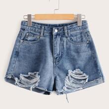 Bleached Wash Distressed Denim Shorts