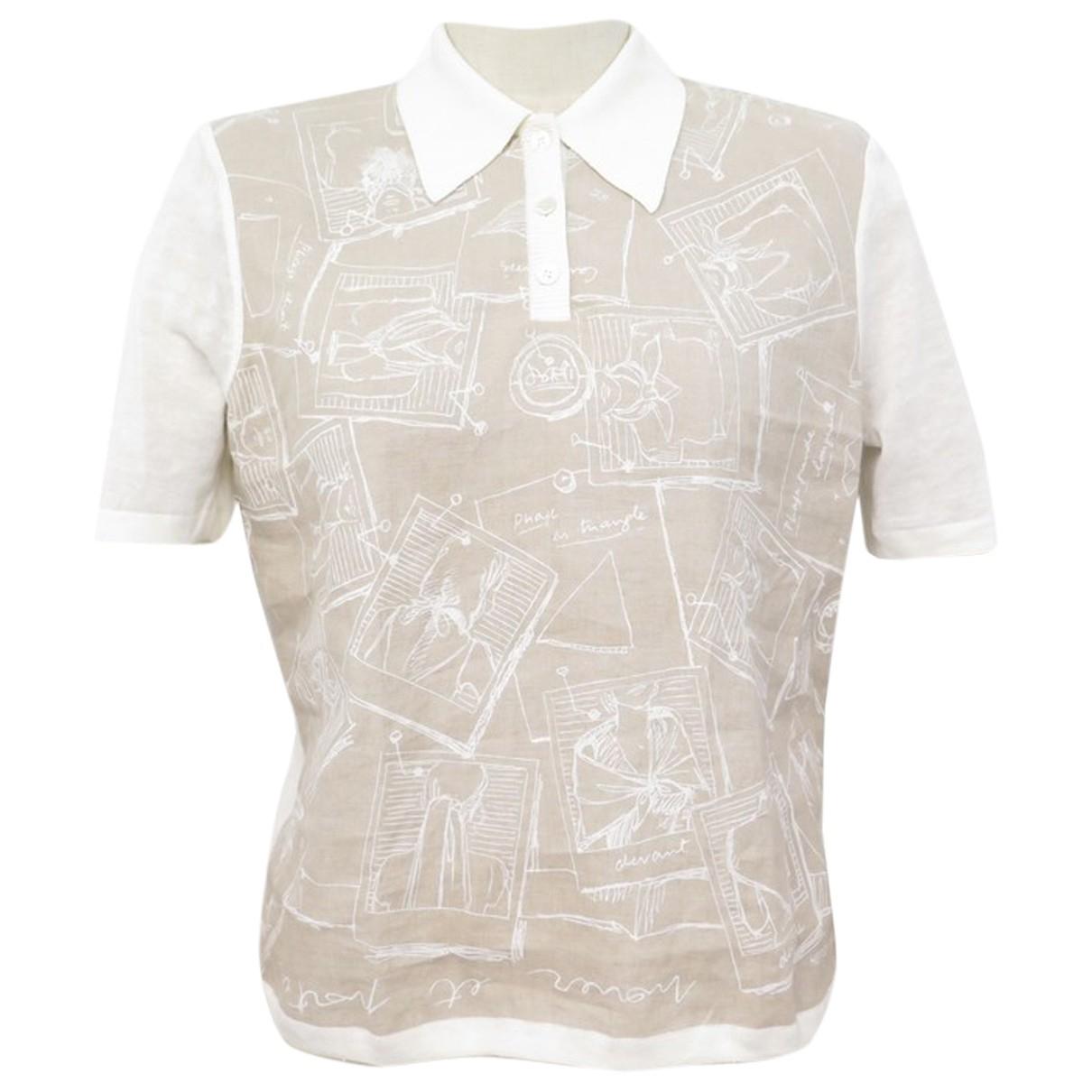Hermes - Top   pour femme en lin - blanc