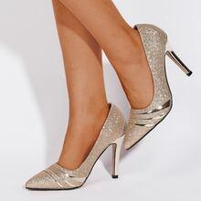 Glitter Detail Stiletto Heeled Court Pumps