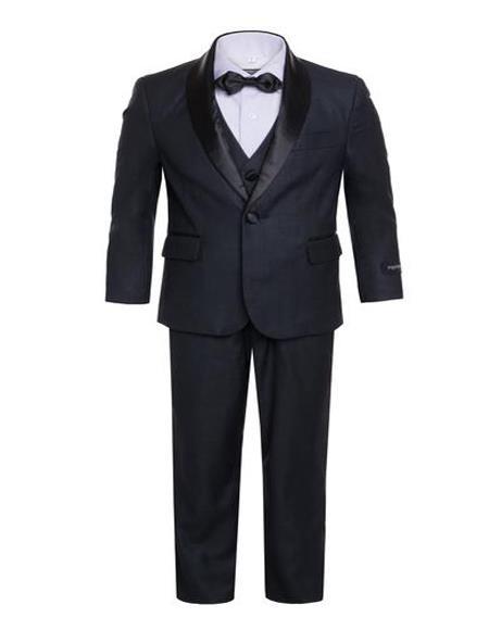 Mens Boys Shawl Lapel Single Breasted Navy Tuxedo Set