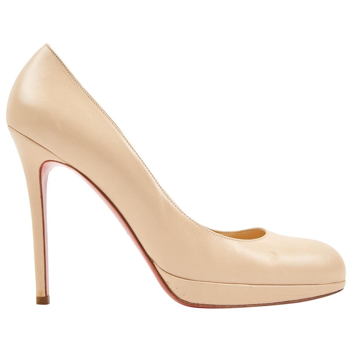 Christian Louboutin Simple pump Beige Leather Heels for Women 40.5 EU